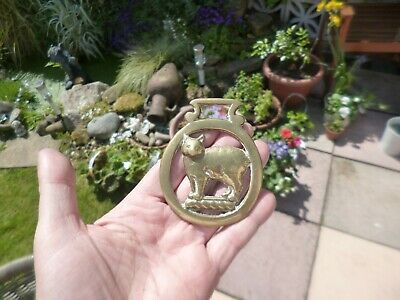 Antique Horse Brass-Late 19th Century Victorian-Manx cat