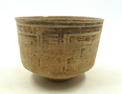 AUTHENTIC ANCIENT INDUS VALLEY TERRACOTTA BOWL W/ GEOMETRIC MOTIF - l736