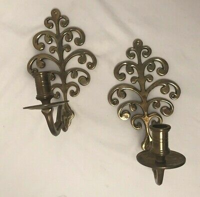 """Vintage Pair Solid Brass Scroll Sconce Wall Candle Holders 10.5""""  Hong Kong"""
