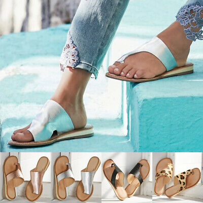 Womens Toe Post Flip Flops Sandals Ladies Summer Beach Leather Flat Shoes Sizes