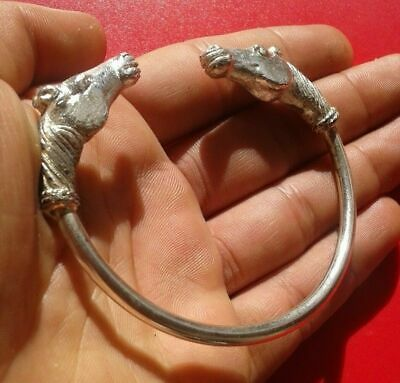 Genuine Ancient Celtic Solid Silver Bracelet With Engraved horced Heads