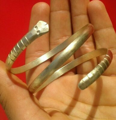 Genuine Ancient Celtic Solid Silver Bracelet With Engraved snaked Heads