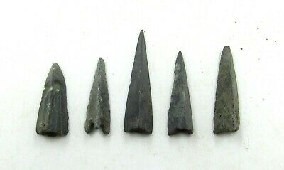 Authentic Lot Of 5 Ancient Scythian Bronze Arrow Heads - J217