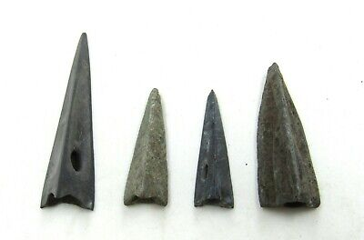 Authentic Lot Of 4 Ancient Scythian Bronze Arrow Heads - J218