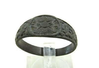 Authentic Late / Post Medieval Tudor Ring W/ Floral Motif - Wearable - J232