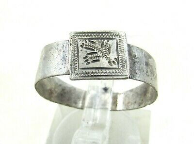 Authentic Post Medieval Tudor Silver Ring W/ Floral Motif - Wearable - J233