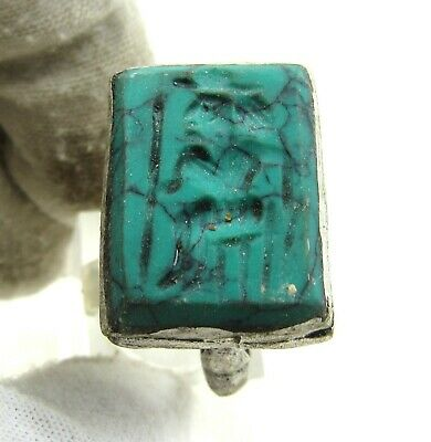 Authentic Post Medieval Silver Ring W/ Intaglio Warrior - Wearable - J235