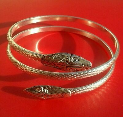 Ancient Celtic Solid Silver mix Bracelet With Engraved snaked Heads