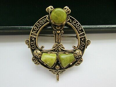 Vintage Signed Miracle Scottish Celtic Connemara Agate Glass Pendant Brooch Pin