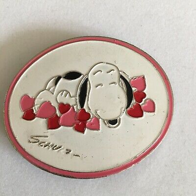 Vtg Peanuts Snoopy Belt Buckle Pink Hearts Love 1970s