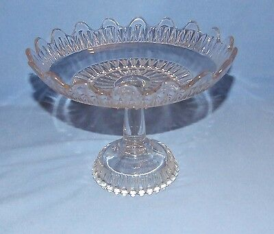 Vintage Cut Glass Crystal Footed Compote/Candy Dish - Fluted Edge - 8""