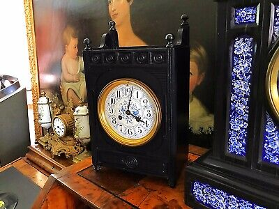 Aesthetic Movement Ebonised 8 Day Mantle Clock attributed to Lewis Foreman Day