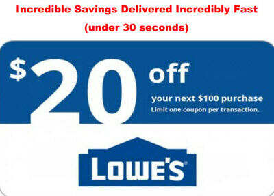 1x Lowes $20 off $100 Fast Delivery 4Instore/Online -- Exp 5 days