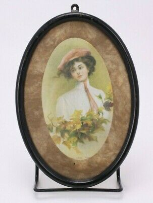 Autumn Leaves Kenyon Antique Vtg Framed Print Lady 1920s Beauty Fashion Hat