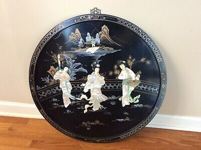 Asian Oriental Black Lacquer Mother of Pearl Round Vintage Wall Hanging Frame.