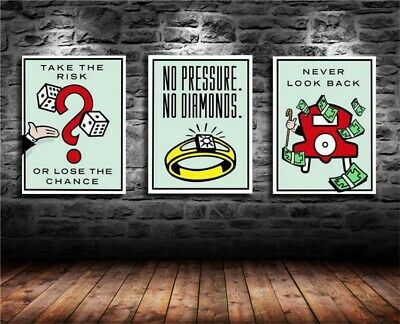 Alec Monopoly 3 Pieces Oil Painting HD Print On Canvas Deco Wall 16x24x3 inch