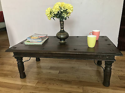 A BRAND NEW SOLID MANGO WOOD Coffee Table TV Stand metal bolts& leg ASSEMBLED