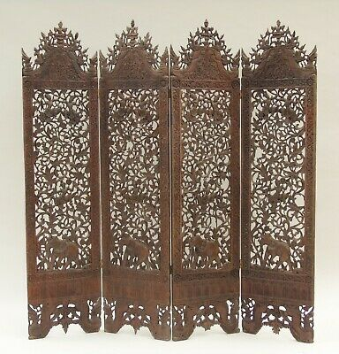 Stunning Indian Hand Carved Antique Four Fold Screen