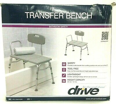 Drive Medical 3 Piece Lightweight Reversible Safety Transfer Bench, RTL12031KDR