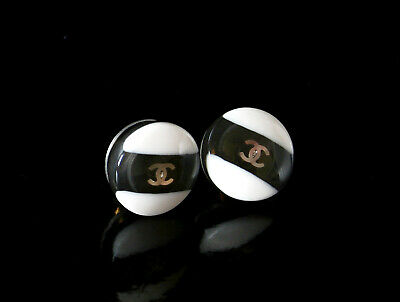Chanel CC Earrings Button Black and White with Golden CC