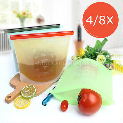 Reusable Silicone Food Preservation Bags Airtight Seal Food Storage Container