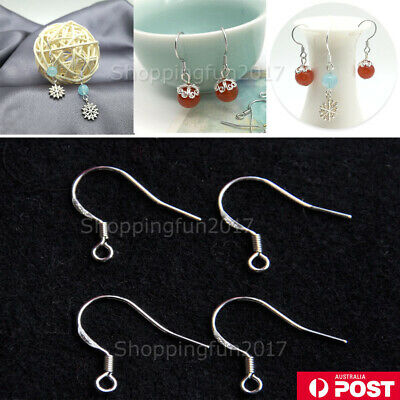 200x 925 Sterling Silver Earring Hooks Wire 200pcs Hypoallergenic Ear Wire DIY