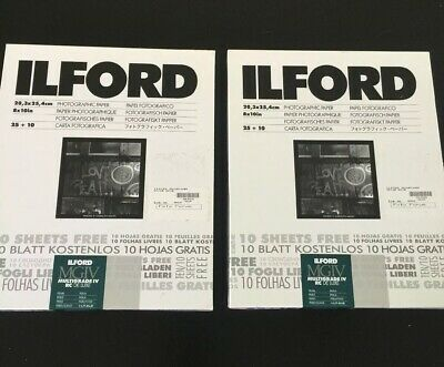 Lot 2 Boxes w 35 sheets Ilford 8X10 Multigrade IV RC Deluxe Pearl Finish 1 open