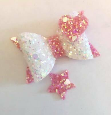 plastic hair bow template 2'' with star and heart