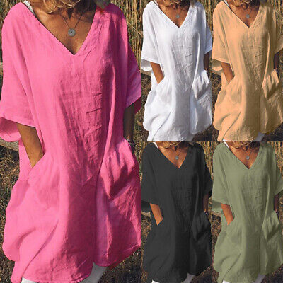 Womens Short Sleeve Linen Tunic Tops Blouse Ladies Summer Casual Dress Plus Size