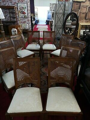 Set Of Ten Bergere Chairs Two Carvers Art Deco Style