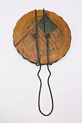 Americana Antique Make Do 48 Star American Flag Wire Chip Carved Hand Mirror
