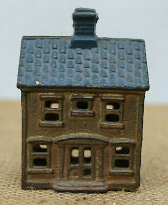 Antique AC Williams Cast Iron Coin Still Bank Orig Paint Colonial House w/ Porch