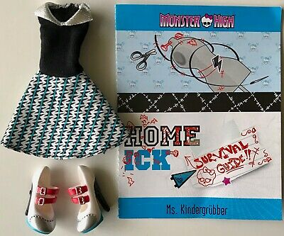 MONSTER HIGH Doll FRANKIE STEIN Mattel CLASSROOM Shoes Dress HOME ICK White Blue