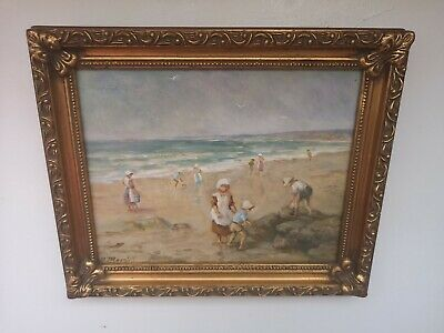 Stunning Impressionist Oil Painting Figures Playing on Beach Signed & Framed
