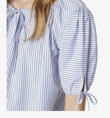 TORY BURCH Ariana SS Drawstring Blue White Striped Stretch Cotton Top S NWT $198