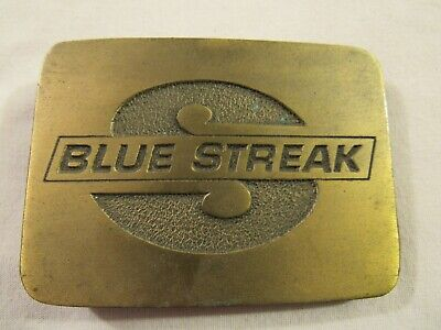 Vintage BLUE STREAK Brass plated BELT BUCKLE CD Hit 1970's made in USA