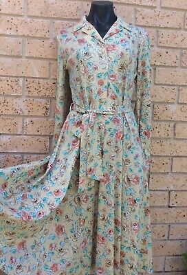 Vintage Original 70's Dress Floral Cream Yellow Size 10 Retro Flare Exc.Cond.