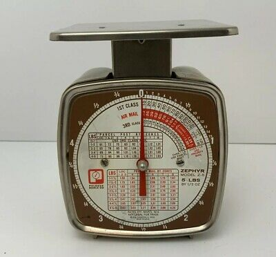 Vintage 70s Pelouze Model Z-5 Postage Scale Brown 1974 Rates 5 Lbs Made In USA