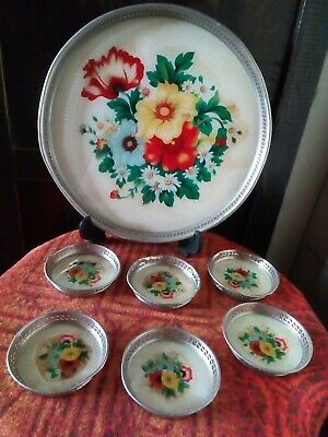 retro serving tray and coasters