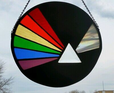 Vintage Pink Floyd Stained Glass Dark Moon Hand Crafted Hanging Art