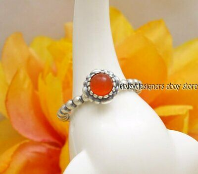 75efd5a18 NEW Authentic PANDORA Birthday Blooms July Carnelian Ring 190854CAR 60 9  RETIRED