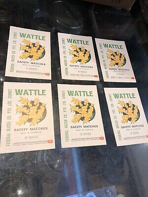 Safety Matches Wattle Vintage X 6 Unused Paper Labels