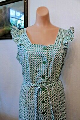 Vintage 40s Plus Size Green Criss Cross Pattern 1940s 50s Pinafore Dress