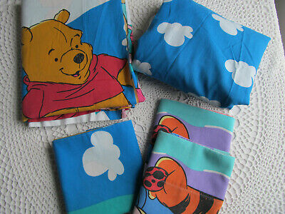 Disney Winnie The Pooh Piglet Bed Sheet Set 3 Pillowcase Full Double Flat Fitted
