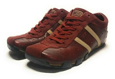 cheaper 39a97 fc4f1 Diesel Evelyn Red Burgundy   Cream Striped Leather Shoes Sneakers Womens  Size 7