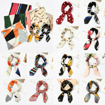 Color Small Vintage Head Neck Women Square Scarf Silk Feel Satin Hair Tie Band