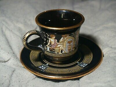 Vintage Adis Handmade Greek style Teacup and Saucer 24k gold leaf trim
