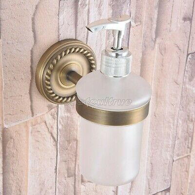 Antique Brass Kitchen Bathroom Frosted Glass Pump Soap Dispenser Holder eba262