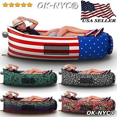 Inflatable Lounger Portable Air Beds Sleeping Sofa Couch for Travelling P5L6