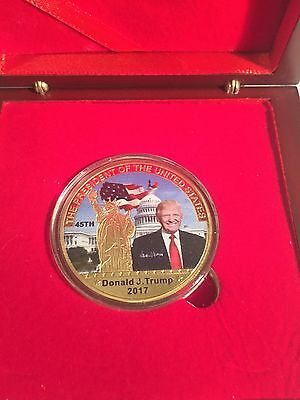 2017 Donald J. Trump 45Th President of USA Coin 999 24k Gold Plated in Disp/Box